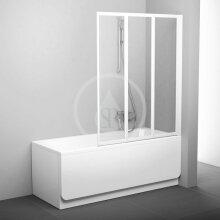 Vanová zástěna skládací třídílná VS3 115, 1146x1400 mm, bílá/transparentní sklo