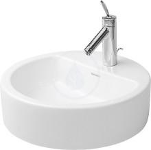 Jednootvorová umyvadlová mísa s přepadem, broušená, průměr 480 mm, bílá - umyvadlová mísa, s WonderGliss