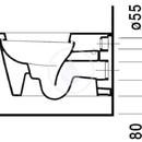 Závěsný klozet, 410 mm x 575 mm, bílý - klozet