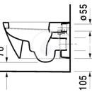 Závěsný klozet, 370 mm x 540 mm, bílý - klozet, s WonderGliss