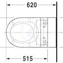 Závěsný klozet, 375 mm x 620 mm, bílý - klozet, s WonderGliss