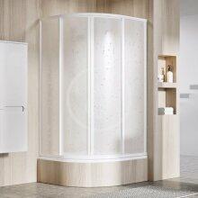 Čtvrtkruhový sprchový kout čtyřdílný SKCP4-80 Sabina, 775-795 mm, bílá/Pearl