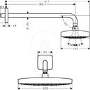 Horní sprcha 300 2jet se sprchovým ramenem 390 mm, Ecosmart, chrom
