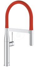 Dřezová baterie s flexibilním ramenem, chrom/červená