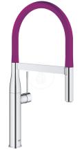 Dřezová baterie s flexibilním ramenem, chrom/purpurová