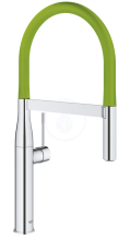 Grohe Essence Dřezová baterie s flexibilním ramenem, chrom/zelená 124978