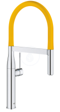 Dřezová baterie s flexibilním ramenem, chrom/žlutá