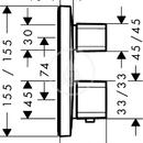 Termostatická baterie pod omítku s uzavíracím ventilem, chrom