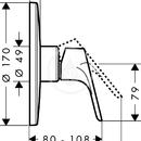Sprchová páková baterie Focus Highflow pod omítku, chrom