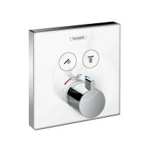 Termostatická baterie pod omítku pro 2 spotřebiče, bílá/chrom