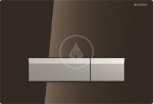 Ovládací tlačítko Sigma40, pro 2 množství splachování, integrované odsávání zápachu, hnědá umbra/kartáčovaný hliník