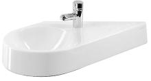 Jednootvorové umývátko bez přepadu, 645 mm x 410 mm, bílé - umývátko vlevo