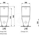 Stojící kombinační mísa, 360 x 700 mm, bílá - standardní provedení