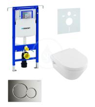Sada pro závěsné WC + klozet a sedátko softclose Villeroy & Boch - sada s tlačítkem Sigma01, chrom