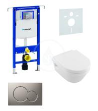 Sada pro závěsné WC + klozet a sedátko softclose Villeroy & Boch - sada s tlačítkem Sigma01, matný chrom