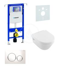 Sada pro závěsné WC + klozet a sedátko softclose Villeroy & Boch - sada s tlačítkem Sigma20, bílá/lesklý chrom/bílá