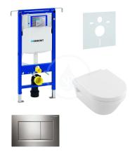 Sada pro závěsné WC + klozet a sedátko softclose Villeroy & Boch - sada s tlačítkem Sigma30, lesklý/matný/lesklý chrom