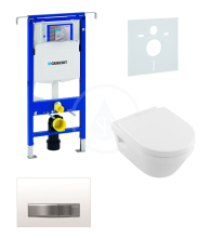 Sada pro závěsné WC + klozet a sedátko softclose Villeroy & Boch - sada s tlačítkem Sigma50, výplň bílá