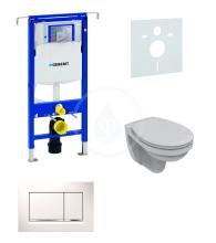 Sada pro závěsné WC + klozet a sedátko softclose Ideal Standard Quarzo - sada s tlačítkem Sigma30, bílá/lesklý chrom/bílá