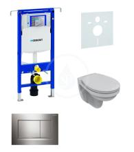 Sada pro závěsné WC + klozet a sedátko softclose Ideal Standard Quarzo - sada s tlačítkem Sigma30, lesklý/matný/lesklý chrom