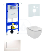 Sada pro závěsné WC + klozet a sedátko softclose Ideal Standard Tesi - sada s tlačítkem Sigma30, bílá/lesklý chrom/bílá