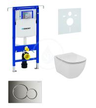 Sada pro závěsné WC + klozet a sedátko Ideal Standard Tesi - sada s tlačítkem Sigma01, chrom