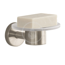 Miska na mýdlo skleněná, kartáčovaný nikl
