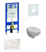 Geberit Duofix Sada pro závěsné WC + klozet a sedátko softclose Ideal Standard Quarzo - sada s tlačítkem Sigma01, bílé 111.300.00.5 ND1