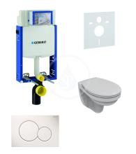 Geberit Kombifix Sada pro závěsné WC + klozet a sedátko softclose Ideal Standard Quarzo - sada s tlačítkem Sigma01, bílé 110.302.00.5 ND1