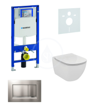 Geberit Duofix Sada pro závěsné WC + klozet a sedátko softclose Ideal Standard Tesi - sada s tlačítkem Sigma30, matný/lesklý/matný chrom 111.300.00.5 NE7