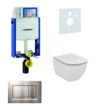 Geberit Kombifix Sada pro závěsné WC + klozet a sedátko Ideal Standard Tesi - sada s tlačítkem Sigma30, matný/lesklý/matný chrom 110.302.00.5 NF7