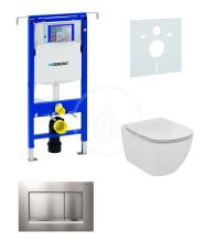 Geberit Duofix Sada pro závěsné WC + klozet a sedátko Ideal Standard Tesi - sada s tlačítkem Sigma30, matný/lesklý/matný chrom 111.355.00.5 NF7