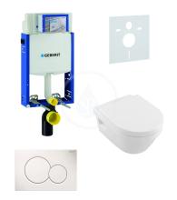 Geberit Kombifix Sada pro závěsné WC + klozet a sedátko softclose Villeroy & Boch - sada s tlačítkem Sigma01, bílé 110.302.00.5 NB1
