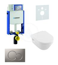 Geberit Kombifix Sada pro závěsné WC + klozet a sedátko softclose Villeroy & Boch - sada s tlačítkem Sigma01, matný chrom 110.302.00.5 NB3