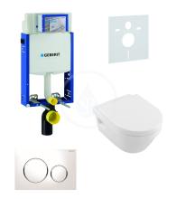 Geberit Kombifix Sada pro závěsné WC + klozet a sedátko softclose Villeroy & Boch - sada s tlačítkem Sigma20, bílá/lesklý chrom/bílá 110.302.00.5 NB4
