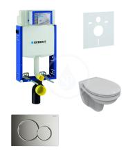 Geberit Kombifix Sada pro závěsné WC + klozet a sedátko softclose Ideal Standard Quarzo - sada s tlačítkem Sigma01, chrom 110.302.00.5 ND2