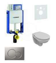Geberit Kombifix Sada pro závěsné WC + klozet a sedátko softclose Ideal Standard Quarzo - sada s tlačítkem Sigma01, matný chrom 110.302.00.5 ND3