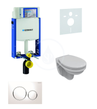 Geberit Kombifix Sada pro závěsné WC + klozet a sedátko softclose Ideal Standard Quarzo - sada s tlačítkem Sigma20, bílá/lesklý chrom/bílá 110.302.00.5 ND4