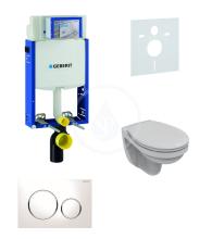 Geberit Kombifix Sada pro závěsné WC + klozet a sedátko Ideal Standard Quarzo - sada s tlačítkem Sigma20, bílá/lesklý chrom/bílá 110.302.00.5 NR4