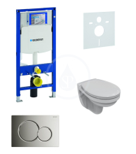 Geberit Duofix Sada pro závěsné WC + klozet a sedátko softclose Ideal Standard Quarzo - sada s tlačítkem Sigma01, chrom 111.300.00.5 ND2