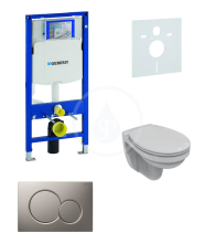 Geberit Duofix Sada pro závěsné WC + klozet a sedátko softclose Ideal Standard Quarzo - sada s tlačítkem Sigma01, matný chrom 111.300.00.5 ND3
