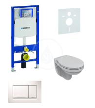 Geberit Duofix Sada pro závěsné WC 111.300.00.5 ND + klozet a sedátko Ideal Standard Quarzo - sada s tlačítkem Sigma30, bílá/lesklý chrom/bílá 111.300.00.5 ND5