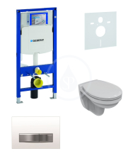 Geberit Duofix Sada pro závěsné WC + klozet a sedátko softclose Ideal Standard Quarzo - sada s tlačítkem Sigma50, výplň bílá 111.300.00.5 ND8