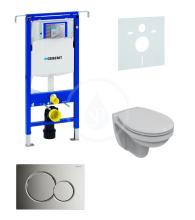 Geberit Duofix Sada pro závěsné WC + klozet a sedátko softclose Ideal Standard Quarzo - sada s tlačítkem Sigma01, chrom 111.355.00.5 ND2