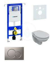 Geberit Duofix Sada pro závěsné WC + klozet a sedátko softclose Ideal Standard Quarzo - sada s tlačítkem Sigma01, matný chrom 111.355.00.5 ND3