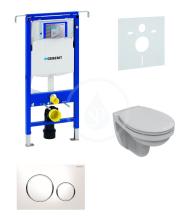 Geberit Duofix Sada pro závěsné WC  + klozet a sedátko softclose Ideal Standard Quarzo - sada s tlačítkem Sigma20, bílá/lesklý chrom/bílá 111.355.00.5 ND4