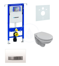 Geberit Duofix Sada pro závěsné WC + klozet a sedátko softclose Ideal Standard Quarzo - sada s tlačítkem Sigma50, výplň bílá 111.355.00.5 ND8