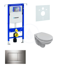 Geberit Duofix Sada pro závěsné WC + klozet a sedátko Ideal Standard Quarzo - sada s tlačítkem Sigma30, lesklý/matný/lesklý chrom 111.355.00.5 NR6