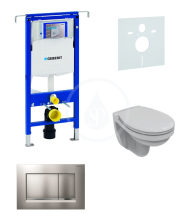 Geberit Duofix Sada pro závěsné WC + klozet a sedátko Ideal Standard Quarzo - sada s tlačítkem Sigma30, matný/lesklý/matný chrom 111.355.00.5 NR7