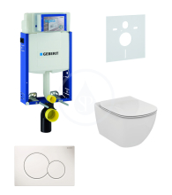 Geberit Kombifix Sada pro závěsné WC + klozet a sedátko softclose Ideal Standard Tesi - sada s tlačítkem Sigma01, bílé 110.302.00.5 NE1